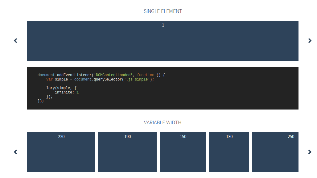lory - jQuery responsive sliders