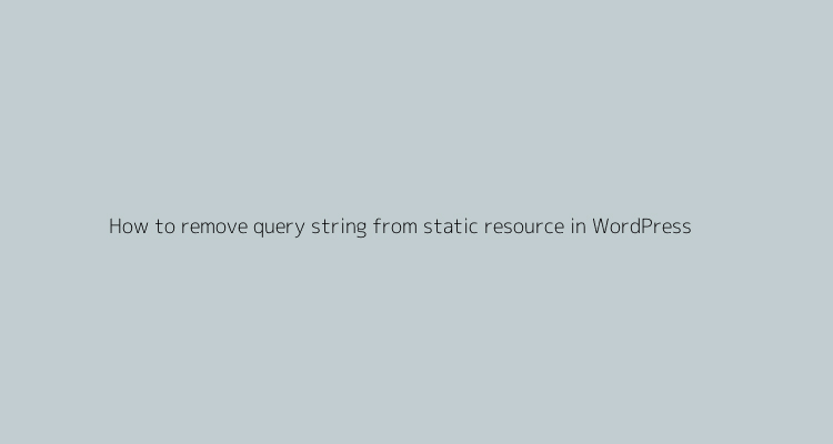 How to remove query string from static resource in wordpress
