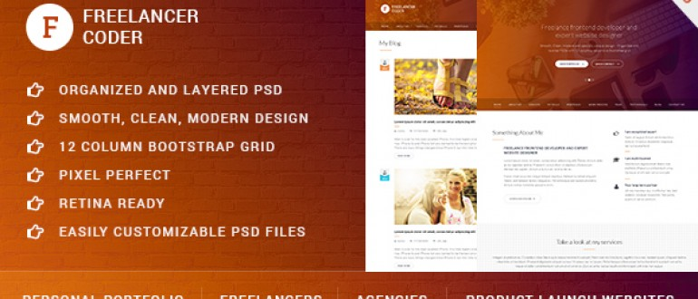 Freelancer Coder – One page PSD template