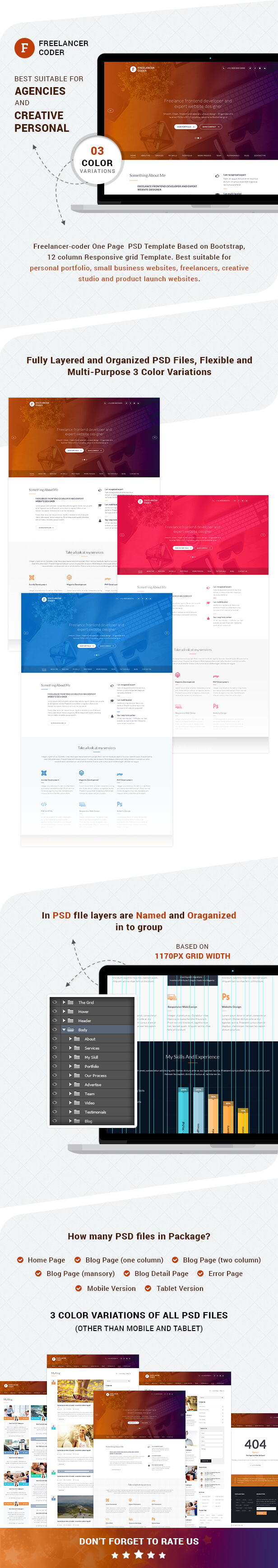 One page PSD template - Freelancer Coder Overview