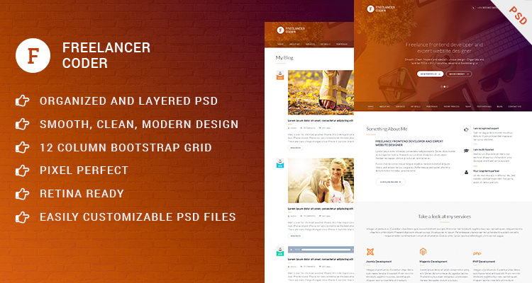 Freelancer Coder - One page PSD template
