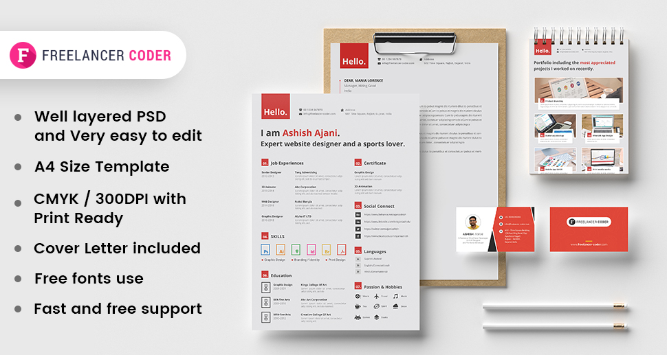 Free Modern Resume Template PSD Set 2