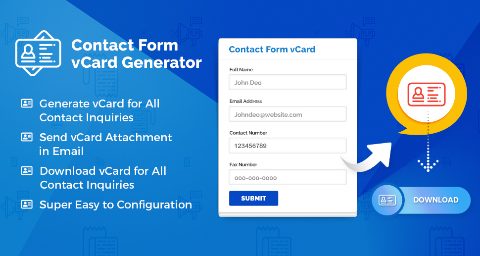 WordPress Contact Form vCard Generator Plugin